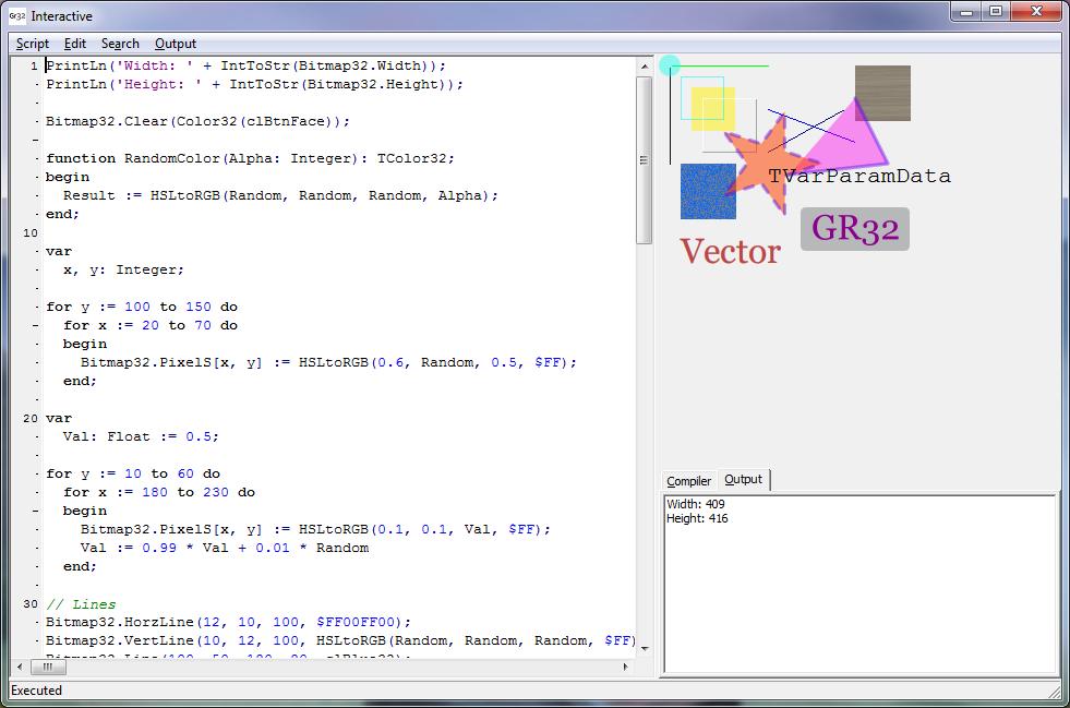 DWScript showcase: Graphics32 interactive demo - DelphiTools